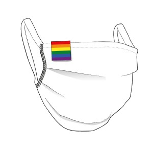 BW-Maske mit LGBT Flaglabel - unisex