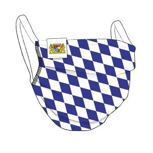 Original BAYERN Maske + Flaglabel - weiß-blau