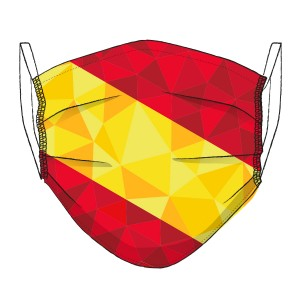Corona Maske Spanien-Flagge in Mosaik-Design