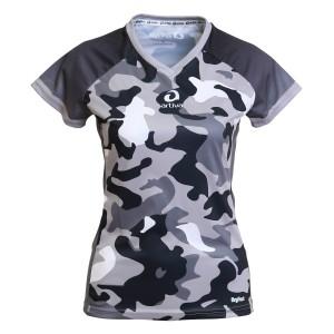 Laufshirt - Camouflage schwarz, Frauen
