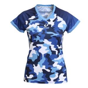 Laufshirt - Camouflage blau Frauen